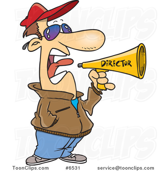 valentines day photos of cats - Cartoon Movie Director Using a Bullhorn 6531 by Ron Leishman