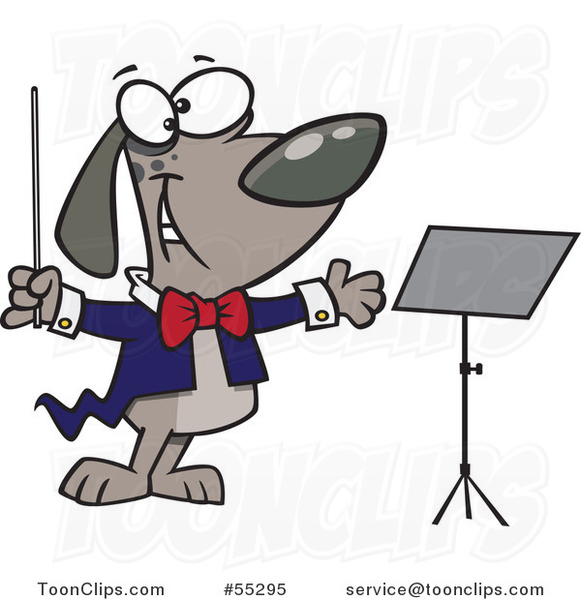 Cartoon Music Conductor Dog by a Stand