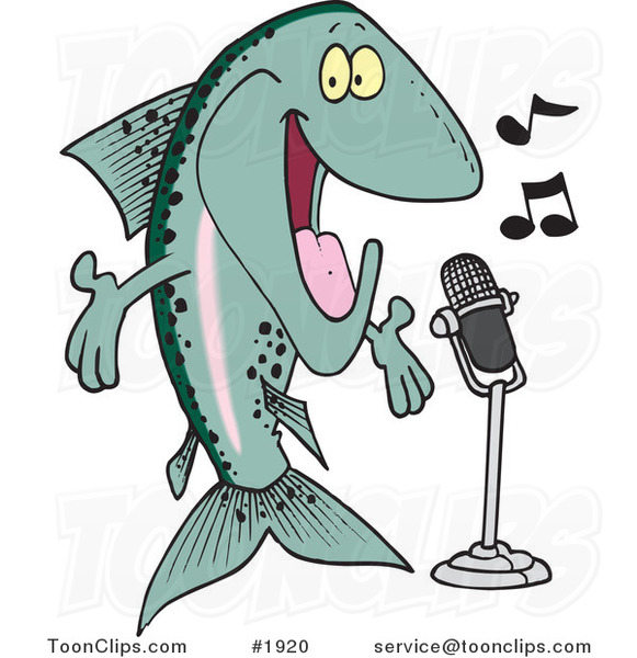 Cartoon Musical Trout Singing