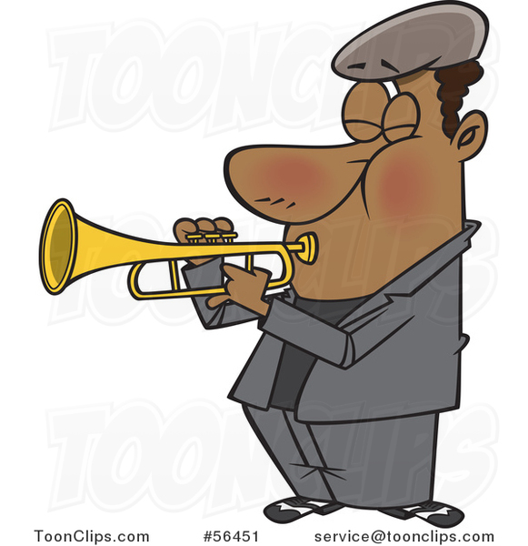 Cartoon Musician Black Guy Playing a Trumpet