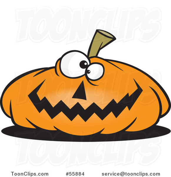 Cartoon Nearly Flat Jackolantern Halloween Pumpkin