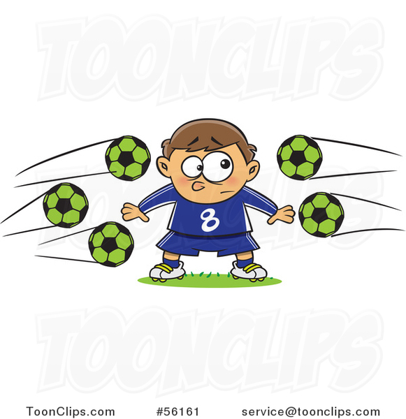 Cartoon Nervous Goal Tender White Boy with Soccer Balls Flying at Him