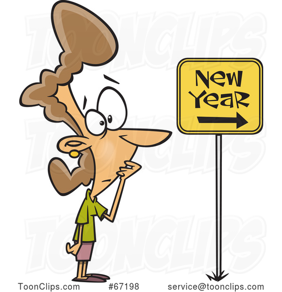 Cartoon Nervous Lady Looking at a New Year Ahead Sign
