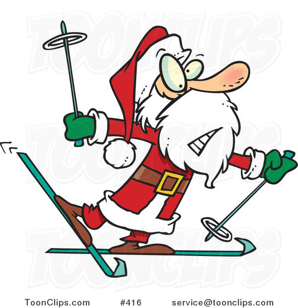 Cartoon Nervous Santa Skiing