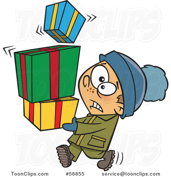 Cartoon Nervous White Boy Carrying a Shaky Stack of Christmas Gifts