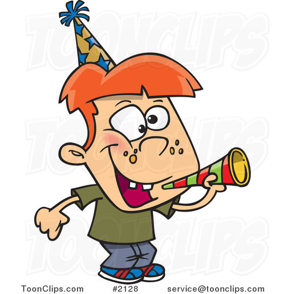 Cartoon New Year Boy with a Horn
