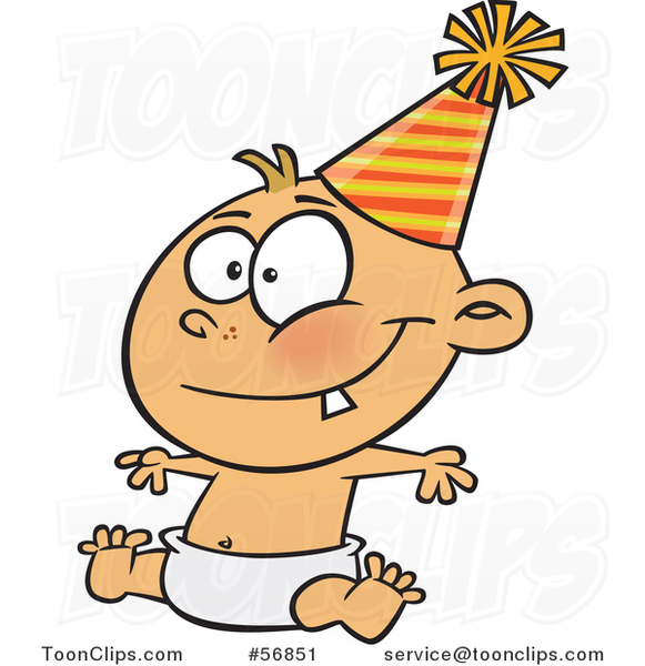 Cartoon New Year White Baby Sitting in a Diaper and Wearing a Party Hat