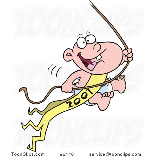 Cartoon New Years Baby Swinging on a Rope