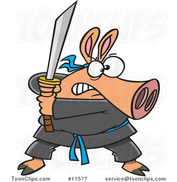 Cartoon Ninja Pig with Sword