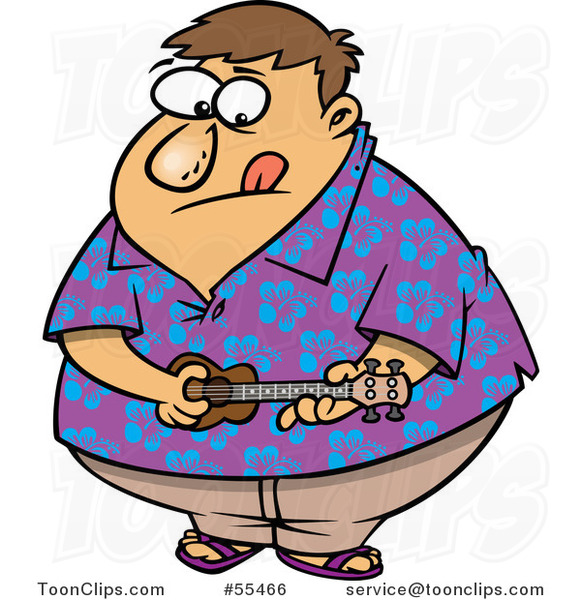 Cartoon Obese Guy in a Hawaiian Shirt, Playing a Ukelele