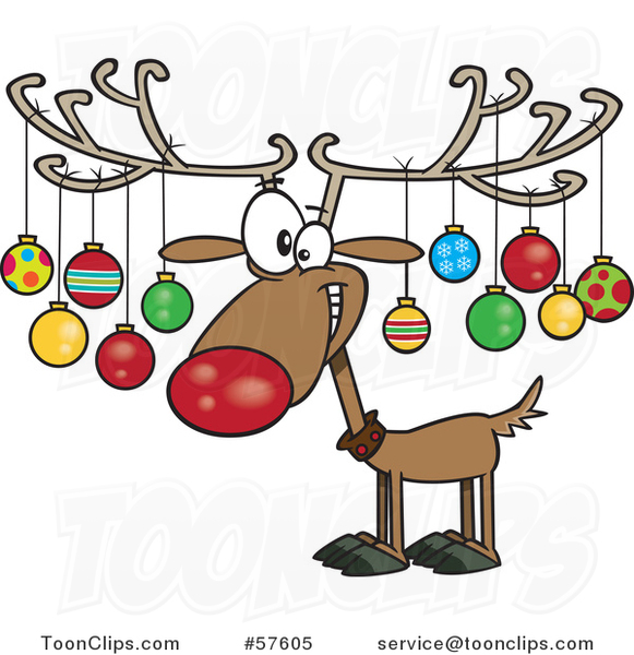 Cartoon of Christmas Reindeer with Ornaments on His Antlers