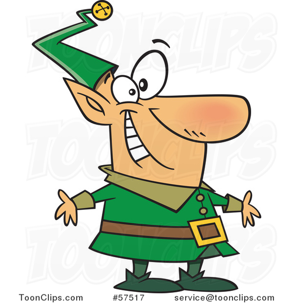 Cartoon of Happy Christmas Elf in a Green Suit