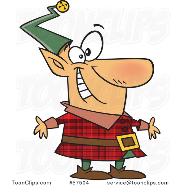 Cartoon of Happy Christmas Elf in a Red Plaid Suit