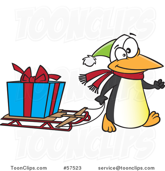 Cartoon of Penguin Pulling a Christmas Present on a Sled