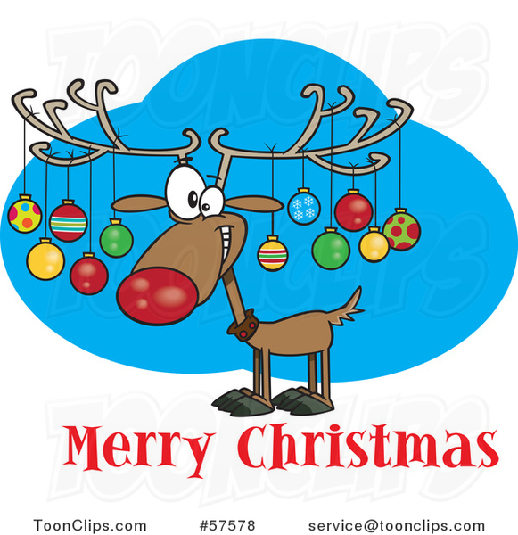 Cartoon of Reindeer with Ornaments on His Antlers Above Merry Christmas Text