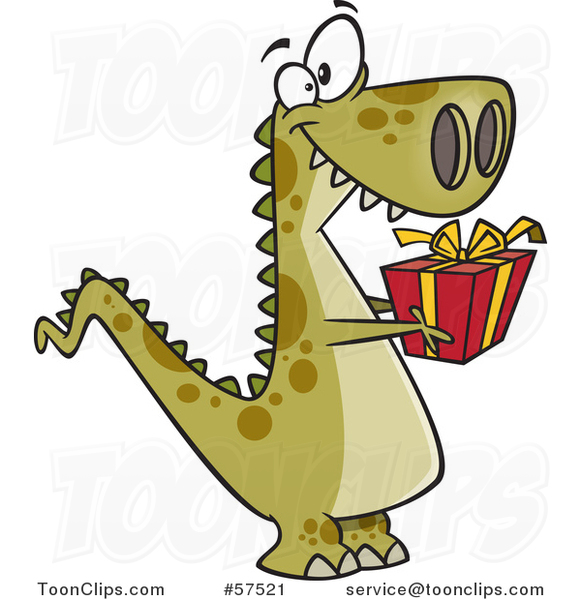 Cartoon of T-Rex Dinosaur Holding out a Christmas Gift