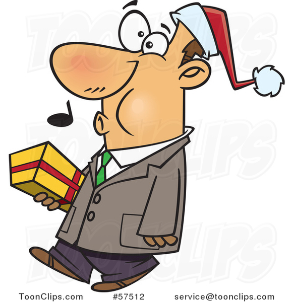 Cartoon of Whistling Man Wearing a Santa Hat and Carrying a Christmas Gift