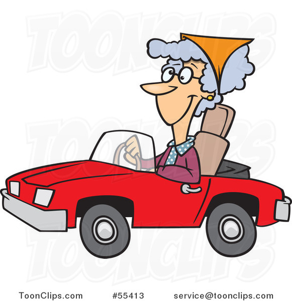 Cartoon Old Lady Driving a Red Convertible Car