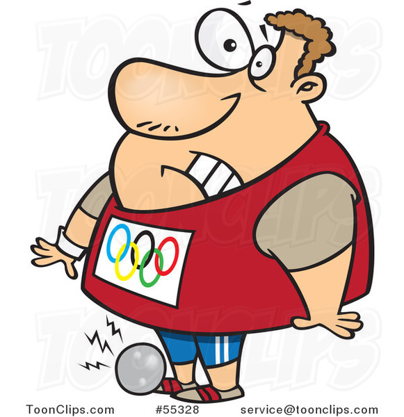 Cartoon Olympic Track and Field Shotput Athlete Guy Dropping the Ball on His Foot