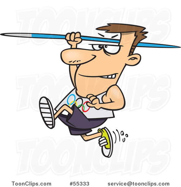 Cartoon Olympics Track and Field Javelin Thrower Guy