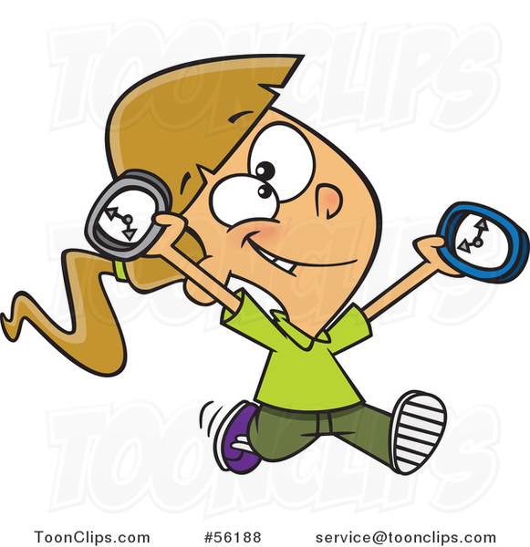 Cartoon on Time White Girl Running with Clocks