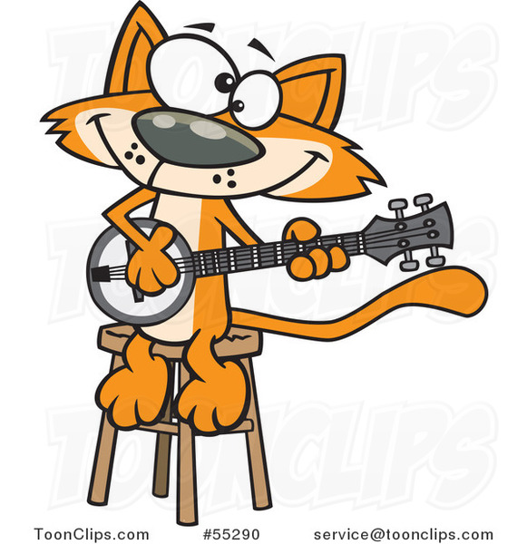Cartoon Orange Cat Playing a Banjo