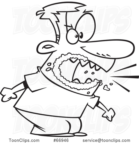 Cartoon Outline Angry Guy Yelling and Foaming at the Mouth