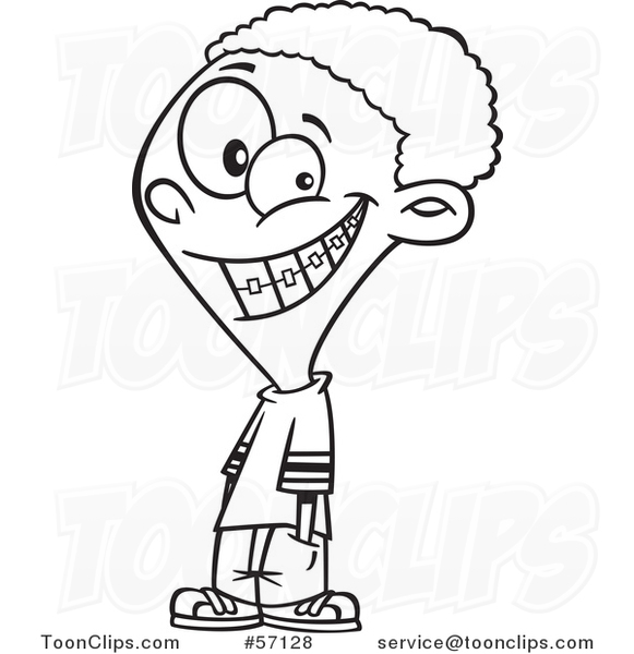 Cartoon Outline Black Boy Grinning and Showing His Braces