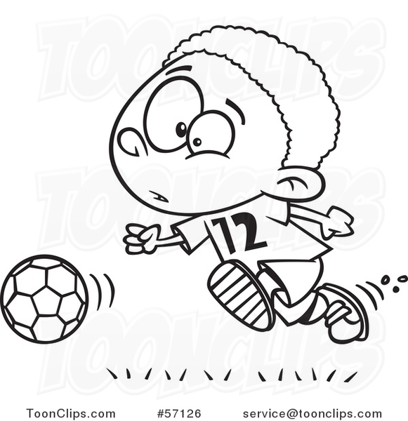 Cartoon Outline Black Boy Playing Soccer