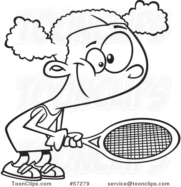Cartoon Outline Black Girl Playing Tennis