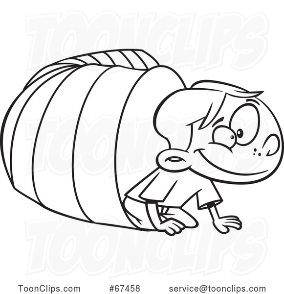 Cartoon Outline Boy Crawling from a Tunnel