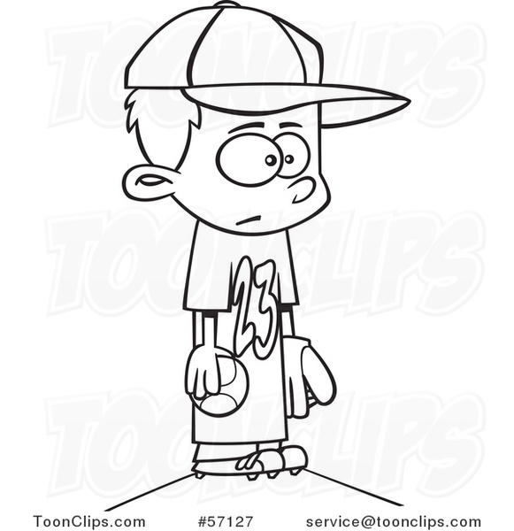 Cartoon Outline Boy Wearing a Big Jersey and Standing on Baseball Pitchers Mound