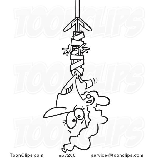 Cartoon Outline Businesswoman Hanging from Red Tape