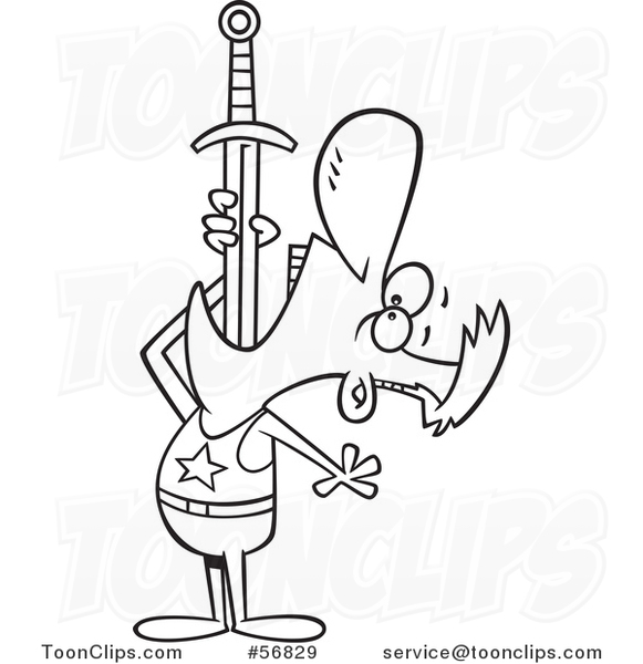 Cartoon Outline Circus Entertainer Guy Swallowing a Sword