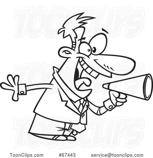 Cartoon Outline Energetic Boss Shouting Through a Megaphone