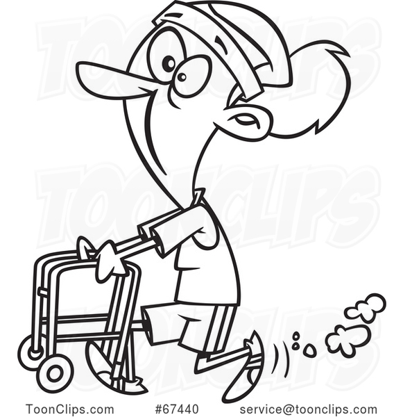Cartoon Outline Feisty Old Lady Walking with a Walker