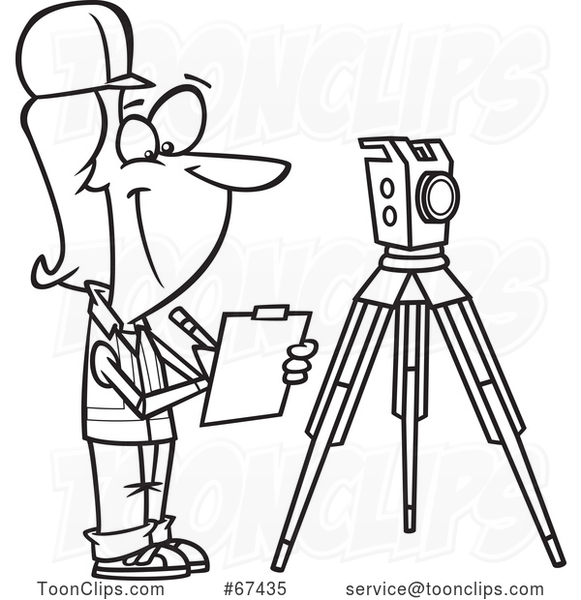 Cartoon Outline Female Surveyor Taking Notes