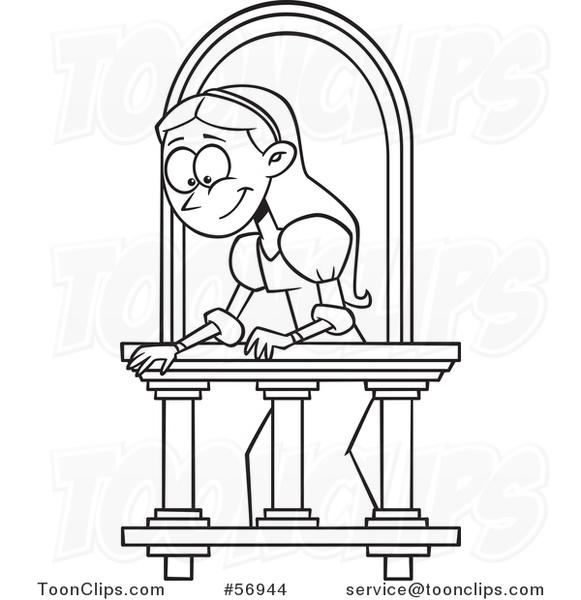 Cartoon outline lady on a balcony playing juliet 56944 for Balcony cartoon