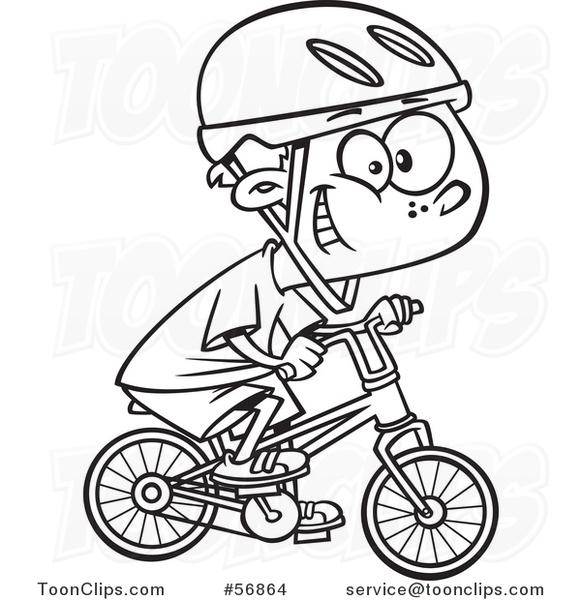 Cartoon Outline Little Boy Wearing a Helmet, Grinning and ...