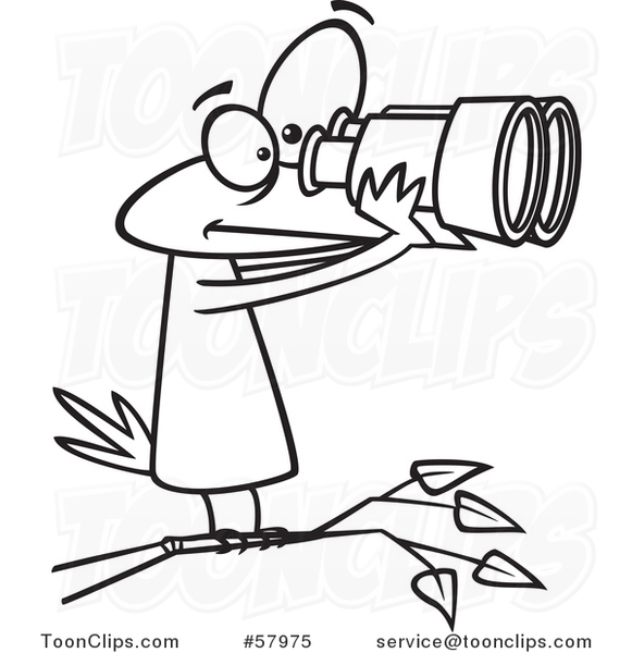 Cartoon Outline of Bird Looking Through Binoculars, Birdwatching