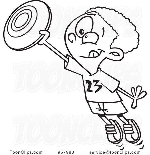 Cartoon Outline of Boy Catching a Frisbee