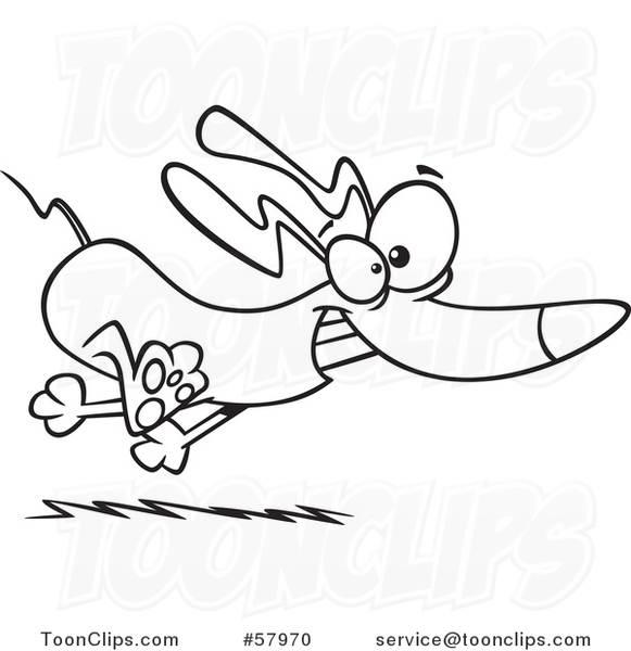 Cartoon Outline of Frisky Dachshund Dog Running