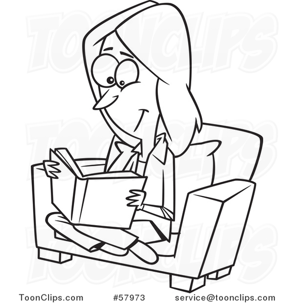 Cartoon Outline of Lady Reading a Book