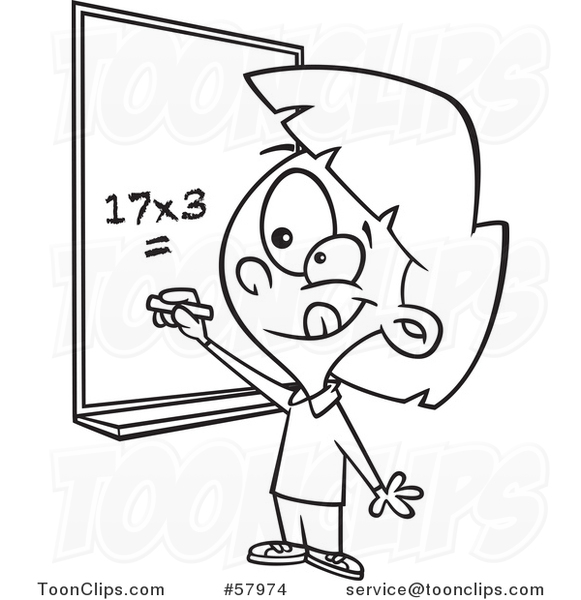 Cartoon Outline of School Girl Solving a Multiplication Math Problem