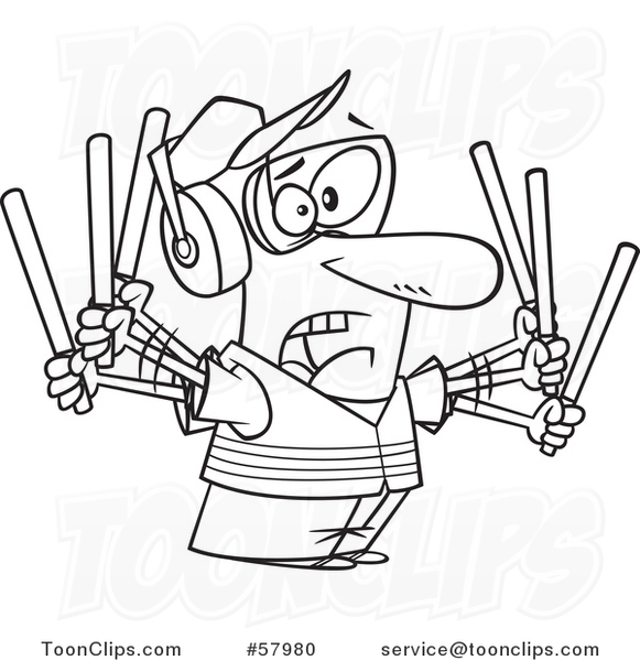 Cartoon Outline of Stressed Traffic Controller Waving Wands