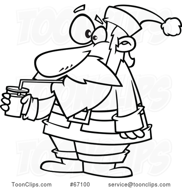 Cartoon Outline Santa Drinking a Smoothie
