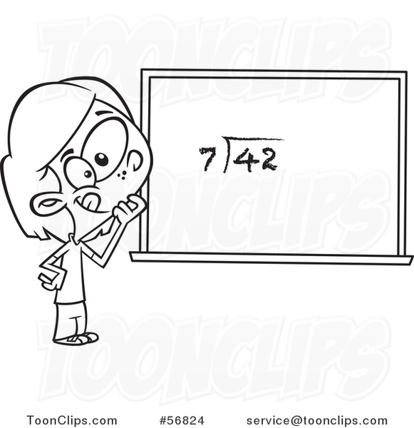 Cartoon Outline School Girl Pondering over an Equation on a Chalk Board