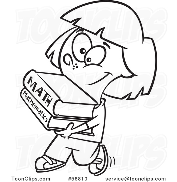 Cartoon Outline School Girl Walking and Carrying Math Books