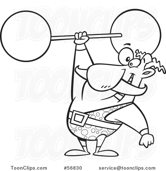 Cartoon Outline Strongman Entertainer Holding a Barbell over His Head