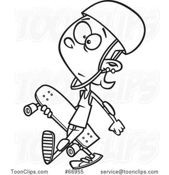 Cartoon Outline Teenage Skater Girl Carrying a Board
